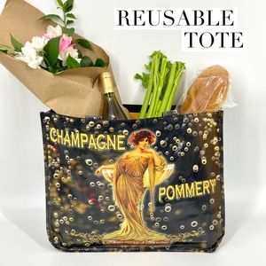 """Reusable Shopping Tote w/ """"French Artwork"""""""